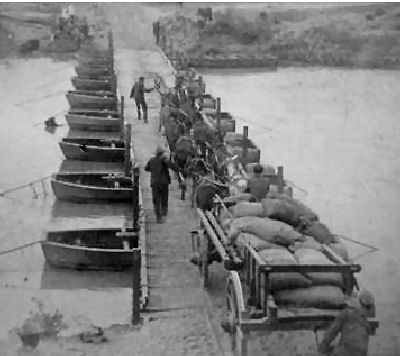 Pontoon Bridge built by the Royal Engineers in two hours across the Modder River