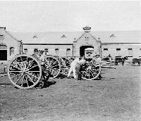Guns of the 75th Royal Field Artillery, in the Artillery Barracks, Pretoria, South Africa 1901
