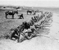 Royal Munster Fusiliers lining the Trenches on a BHoer Alarm, Honey Nest Kloof (1901)
