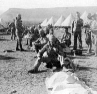 Men of the Yorkshire Regiment breakfasting at their camp at Naauwport after their victory 28th January 1900