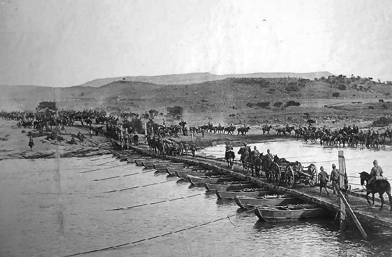 Royal Artillery crossing pontoon bridge