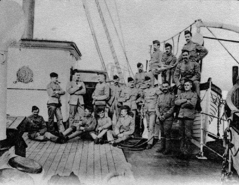 Royal Engineers on-board ship sailing for South Africa